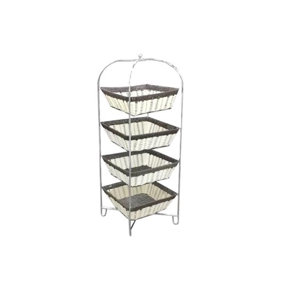 صورة Free Standing 4 Tier Rattan Basket Vegetable Rack - A Practical Addition To Your Kitchen - 90 X 30 CM