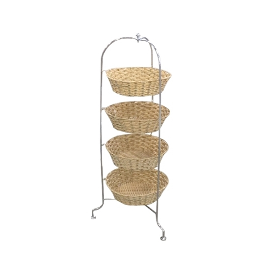 Picture of Free Standing 4 Tier Rattan Basket Vegetable Rack - A Practical Addition To Your Kitchen - 90 X 30 CM