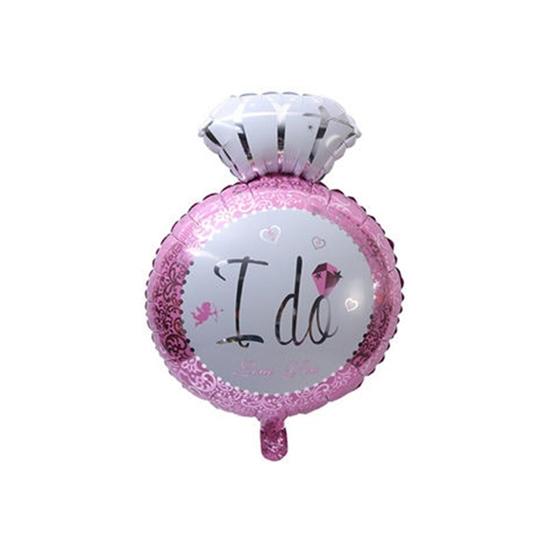 صورة Diamond Ring I Do Balloon Aluminum Wedding Ceremony Bride Party Decoration, Pink  47 X 36 CM