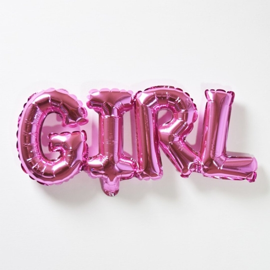 Picture of GIRL Letter Balloons, 32 x 84 cm One-piece Alphabet Baby Foil Balloons for Baby Birthday Party Decorations