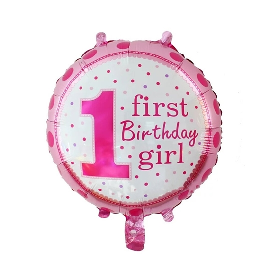 Picture of First Birthday Girl Polka Foil Balloon / Birthday Party / Baby Shower Decoration - 18 inch Pink