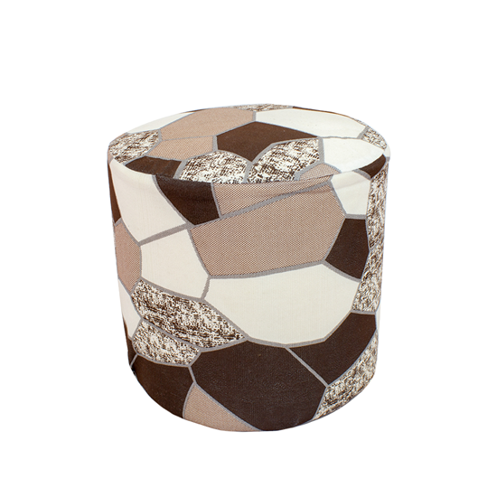 Picture of Printed Ottoman Footstool Round Pouffe - 35 x 32 Cm