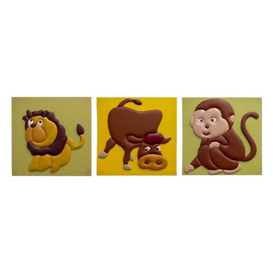 Picture of Set of 3 Cute 3D Animals Pictures (Lion, Dog, Monkey) 48 x 48 CM