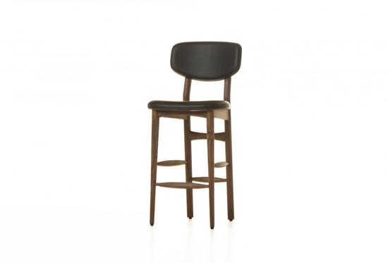 صورة مقعد جلد مع أرجل خشبية  قياس 105 × 42 × 45 سم