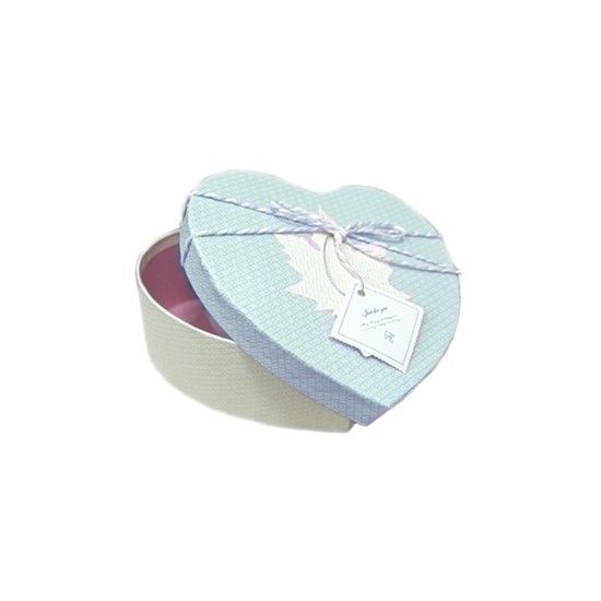 Picture of BLUE & WHITE HEART BOX - CM 16 x 15 x 6cm