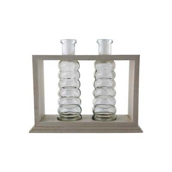 Picture of 2 Flower Vases In a Wooden Frame - 21 x 18 x 6 Cm
