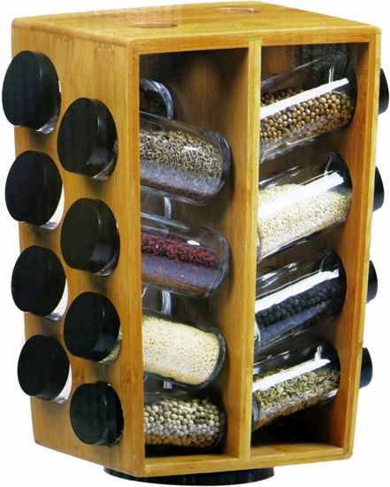 Picture of Glass and Plastic 16 Jar Spice Rack - 22 x 30 Cm