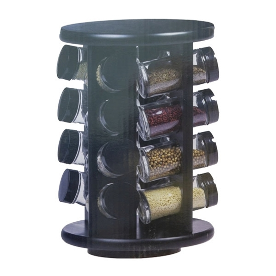 Picture of Glass and Plastic 16 Jar Spice Rack - 29 x 19 x 19 Cm