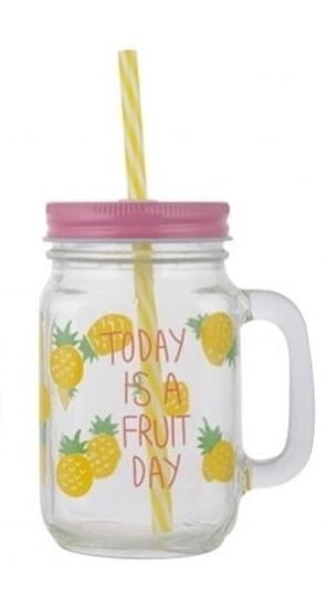 صورة Fruit Printing Glass Mason Jar Mug - 13 x 8 Cm