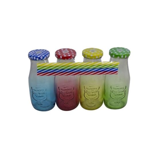صورة Pack of 4 Mason Jar Mugs with Handle, Color Lids, and Plastic Straws, Old Fashion Drinking Glasses, Glass Drinking Cup, Dishwasher Safe, Assorted Color Lid - 15 x 6 Cm