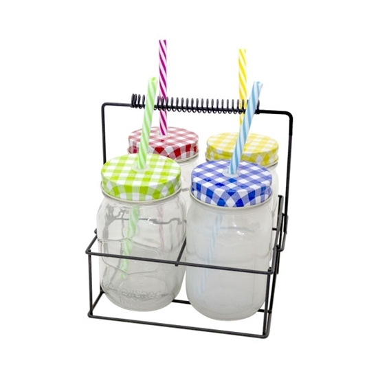 Picture of GLASS JAR WITH STRAW 450ML - 19 x 14 Cm