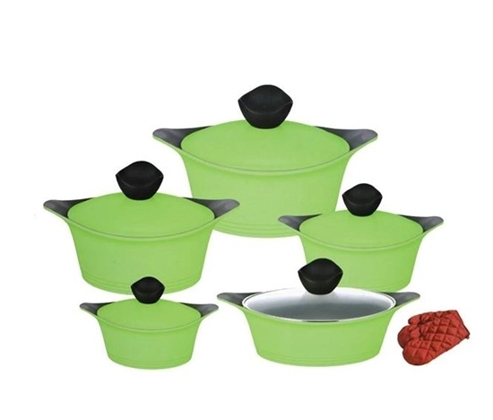 Picture of 5 PCs Cooking Set with Lid (Green)