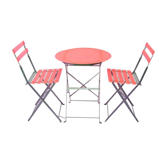 صورة Colored Tea Table & 2 Chairs - Table: 60W x 60L x 70H // Chair: 41W x 35L x 80H