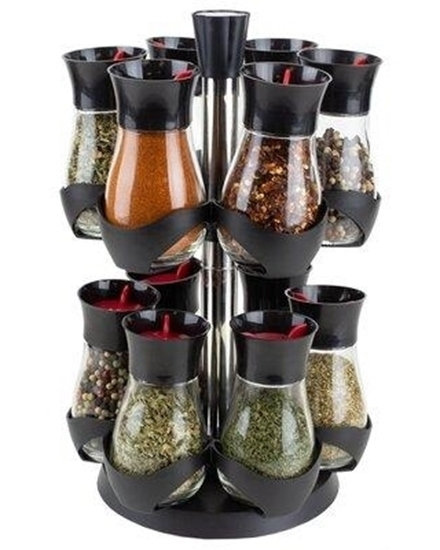 Picture of Glass And Plastic 12 Jar Spice Rack - 20 x 30 Cm //Jar 5 x 10 Cm