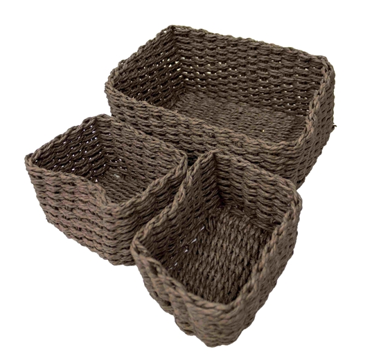 Picture of Nesting Paper Rope Woven Storage Baskets - 26 x 20 x 10 Cm