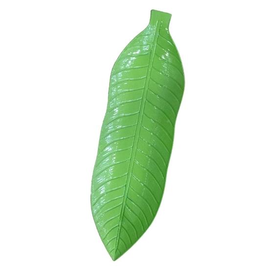 صورة صحن أخضر على شكل ورقة شجر - 53 × 16سم