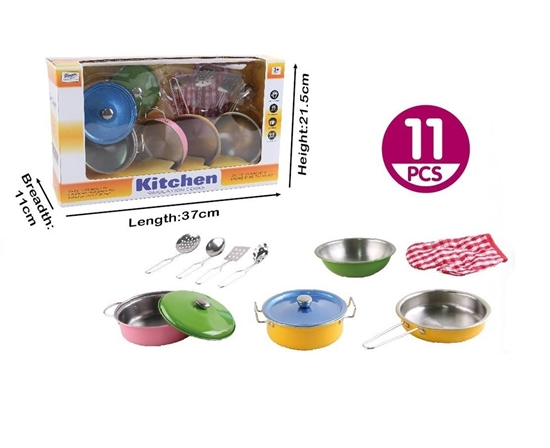 Picture of 11pcs Colorful Kids Kitchen Cooking Playset - 73 x 21 x 11 Cm