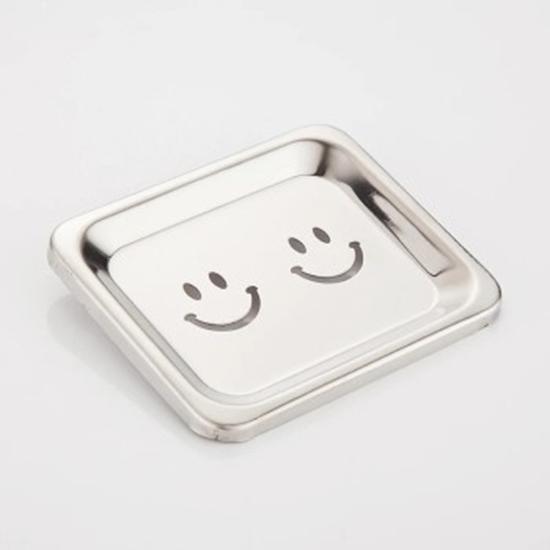 صورة Set of 2 Stainless Steel Smiley Soap Dish - 12 x 10 Cm