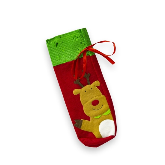 Picture of Christmas Bottle Cover Bag - 33 x 13 Cm