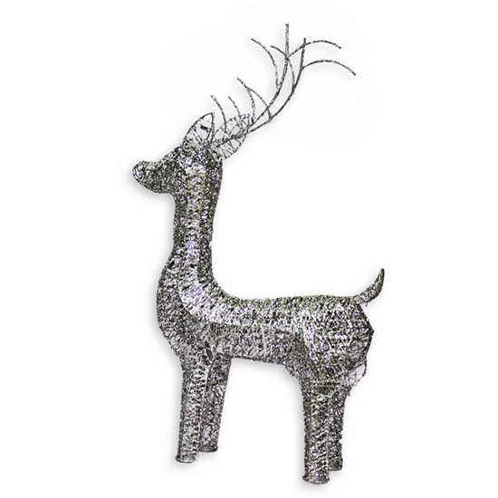 Picture of Christmas Decorations Silver Glitter Deer - 55 x 36 Cm