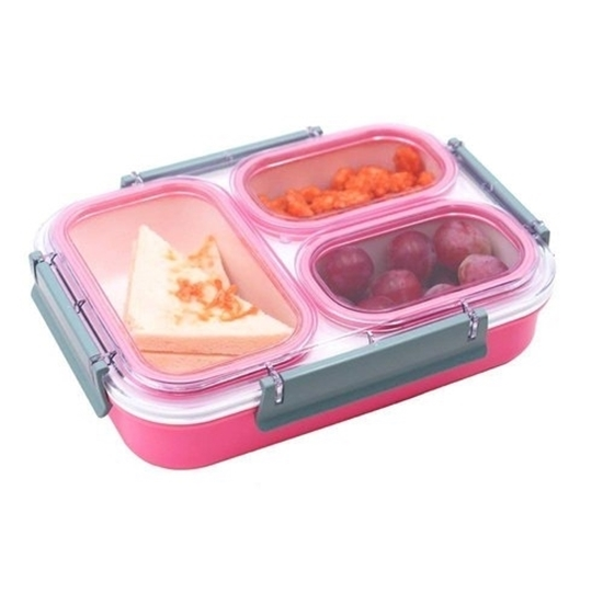 Picture of Plastic Lunch Box with 3 Compartments - 19 x 26 x 5 Cm