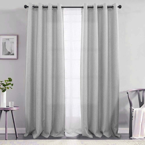 Picture of Light Grey - Living Room Curtain 2 Panels - 140 x 280 Cm