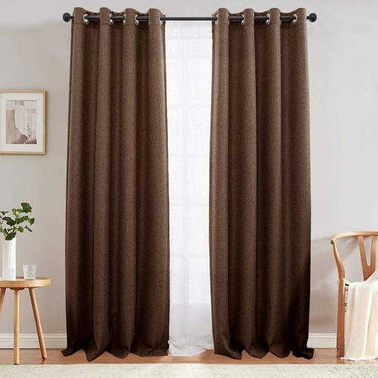 Picture of Brown - Living Room Curtain 2 Panels - 140 x 280 Cm