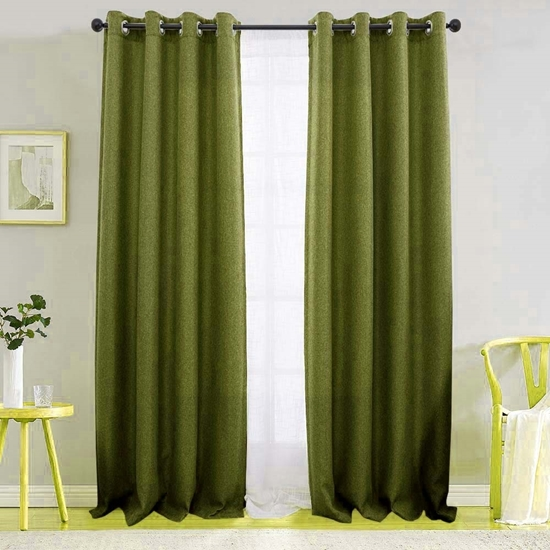 Picture of Dark Green - Living Room Curtain 2 Panels - 140 x 280 Cm