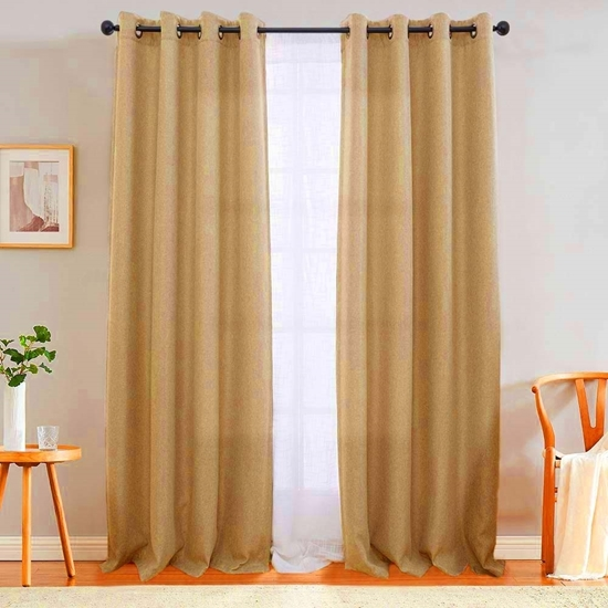 Picture of Dark Beige - Living Room Curtain 2 Panels - 140 x 280 Cm