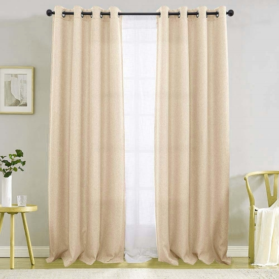 Picture of Beige - Living Room Curtain 2 Panels - 140 x 280 Cm
