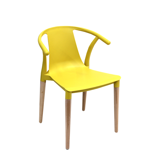 Picture of Modern Plastic Wooden Legs Chair - 46 x 44 x 76 Cm