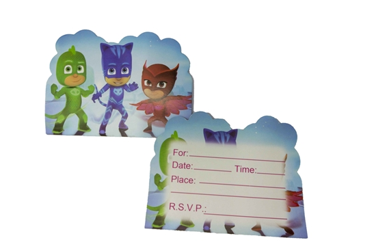 Picture of Invitation Cards PJ MASK 10 PCs - 14 x 11 Cm
