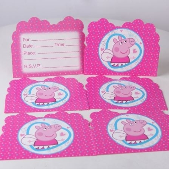 Picture of Invitation Cards PEPPA PIG 10 PCs - 14 x 11 Cm