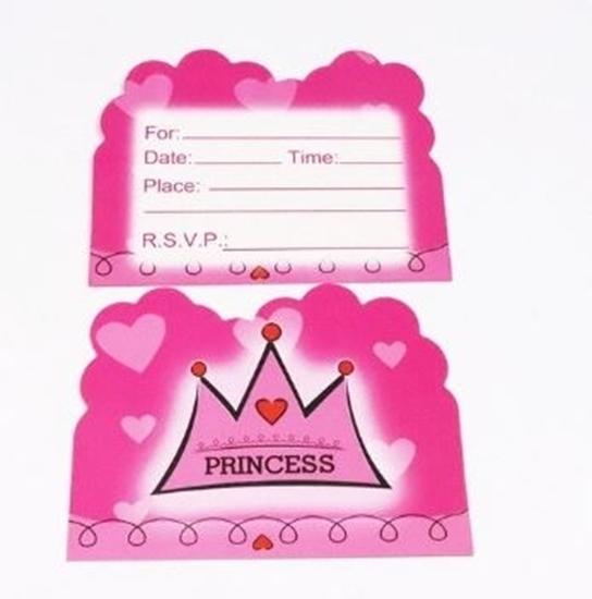 صورة Invitation Cards PRINCESS CROWN 10 PCs - 14 x 11 Cm