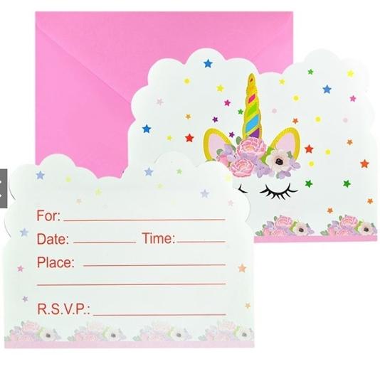 صورة Invitation Cards UNICORN 10 PCs - 14 x 11 Cm