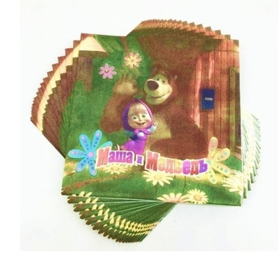 Picture of Napkins MASHA AND THE BEAR 20 PCS - 16.4 x 16.4 Cm