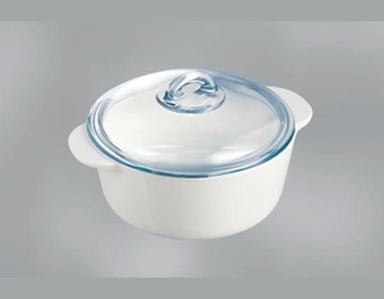 صورة Pyrex - White Vitroceramic Round Casserole 16cm / 1L - Flame