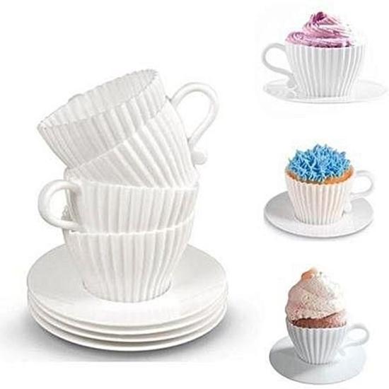 Picture of Silicone Tea Cupcake Bake & Serve Set - 4.5 x 10.5 Cm