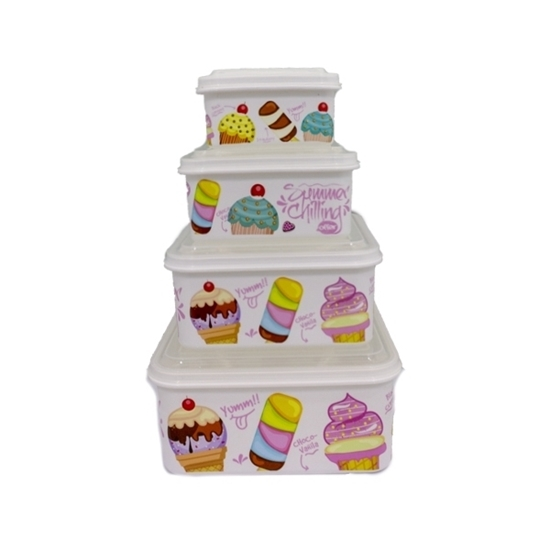 Picture of Tupperware Printed Touch Plastic, Food Storage Set (4-Piece)