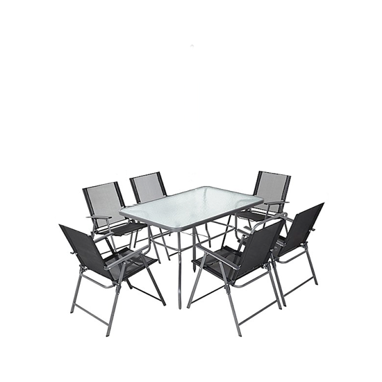 Picture of Black Outdoor Table & Chai, (1+6) - 150 x 90 Cm